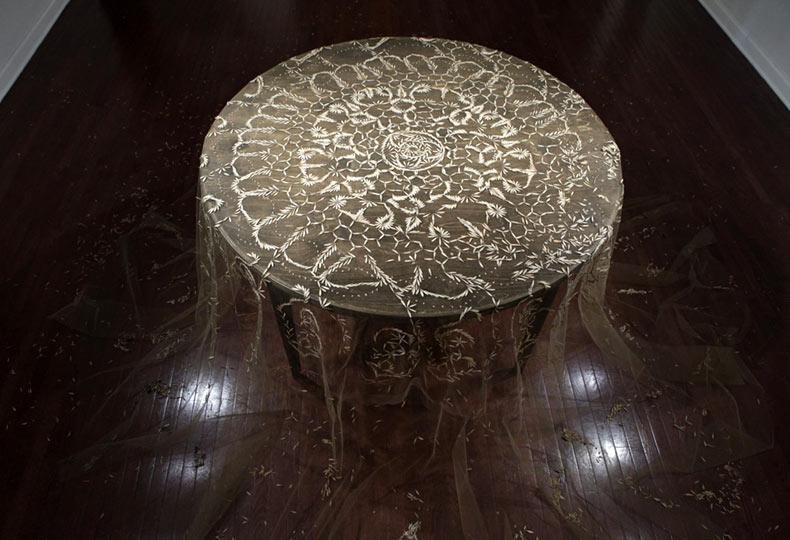 Mantel creado con patrones de encaje de semillas recogidas por Rena Detrixhe