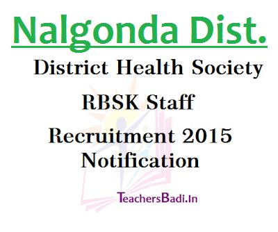 Nalgonda, RBSK Staff Recruitment,District Health Society
