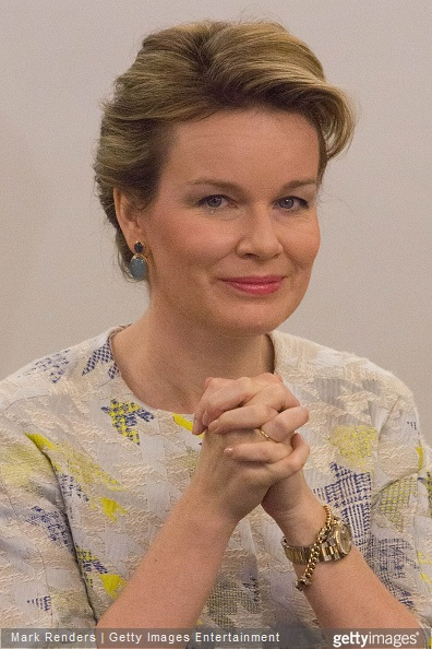 Queen Mathilde of Belgium visits the RTBF studio on March 19, 2015 in Brussels, Belgium