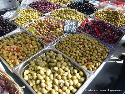 Close-up of olives at the market in Lyon