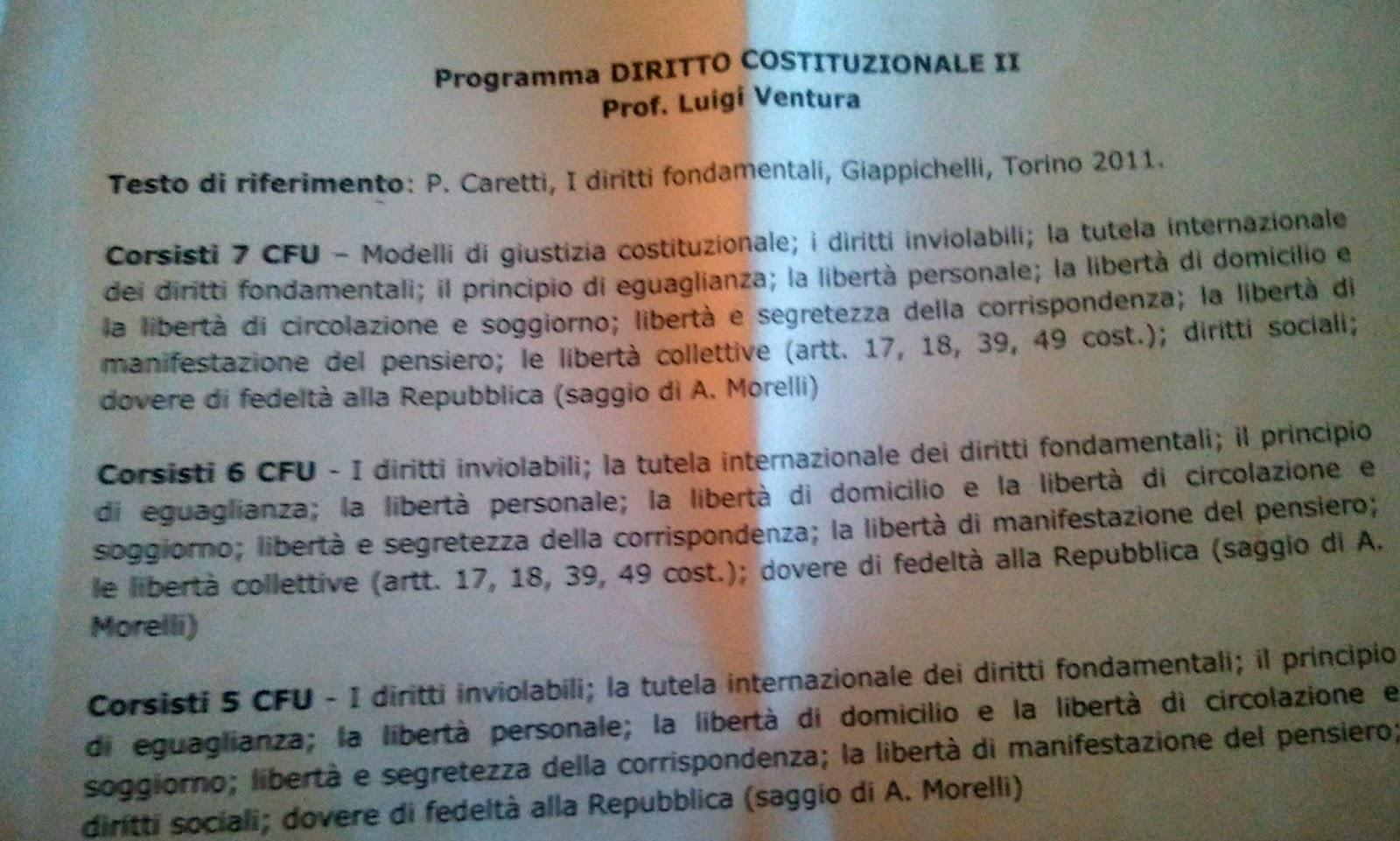 PROGRAMMA DIRITTO COSTITUZIONALE 2 suddiviso per CFU - CORSITI E NON ...