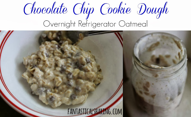 Chocolate Chip Cookie Dough Overnight Refrigerator Oatmeal | Cookies for breakfast, but in a healthy way!