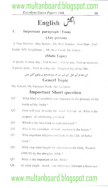 BISE Guess Paper English Matric,10th Class 2012