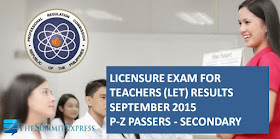 P-Z Passers LET Results September 2015 Secondary Alphabetical List