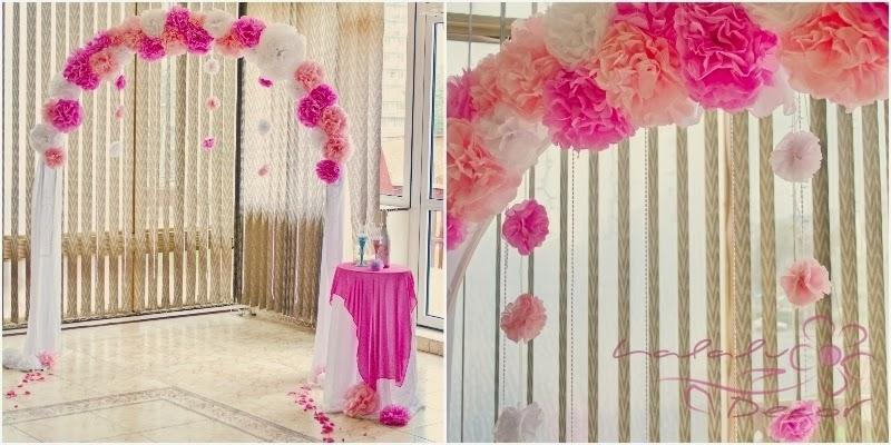 Декор свадьбы бумажными помпонами: 10 классных идей