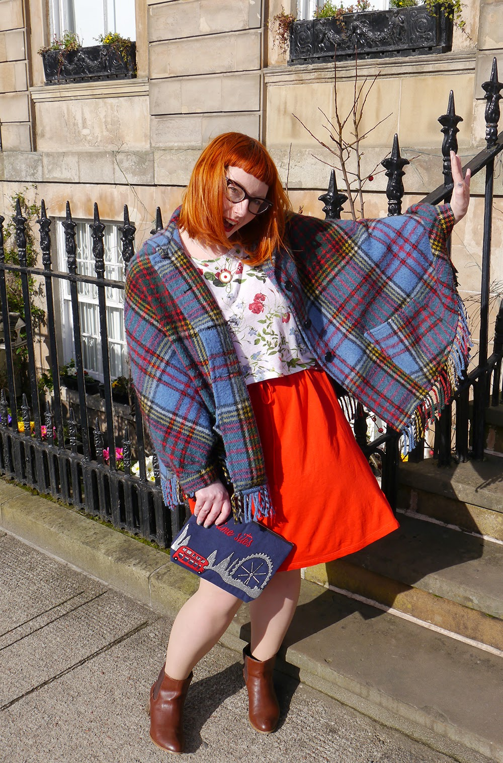 What Helen Wore, Scottish Blogger, Red Head, Glasgow, Hillary's Crafternoon, Sugar & Vice, cherry bakewell necklace, comfy style, bright colours, floral tee, Zara flower print tshirt, H&M red jersey dress, Zara brown boots, SewLomax day time sites bag, vintage tartan cape, vintage cape, vintage style
