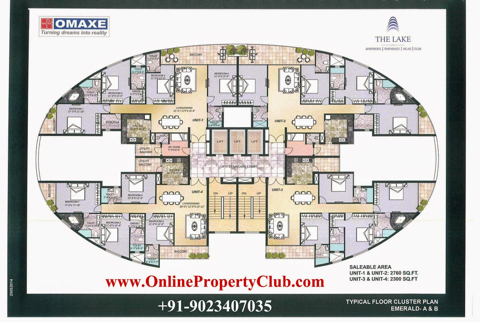 `The Lake - 2,3,4 BHK Flats Apartments in Omaxe New Chandigarh Mullanpur