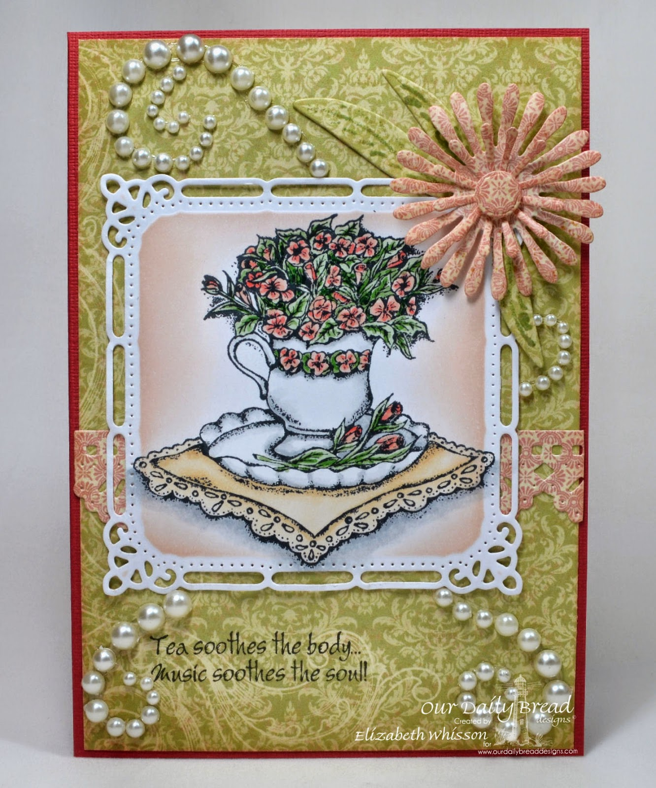 Elizabeth Whisson, Our Daily Bread Designs, Blushing Rose Paper Collection, ODBD Asters and Leaves Dies, ODBD Beautiful Borders Dies, Spellbinders dies, pearls, Birthday blessings, Just a Note, handmade card, Copics