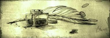 Dibujo de pluma y tintero