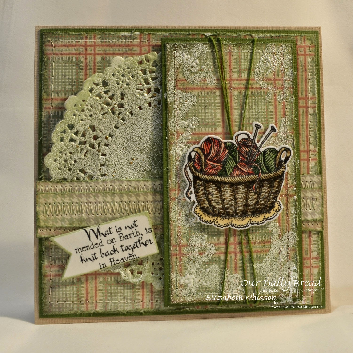 Elizabeth Whisson, Our Daily Bread Designs, ODBD, ODBDDT, ODBDSLC, Hand knit, handmade card, Knitting basket and yarn dies, pennant, soulful stitches, doily, copics