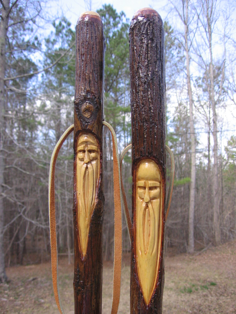 Clay perry hand carved walking sticks a sale