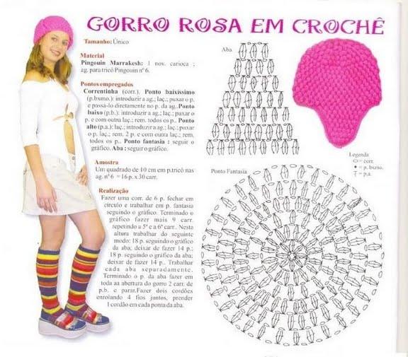 Patrón: Gorro rosa en crochet punto pop corn con orejeras
