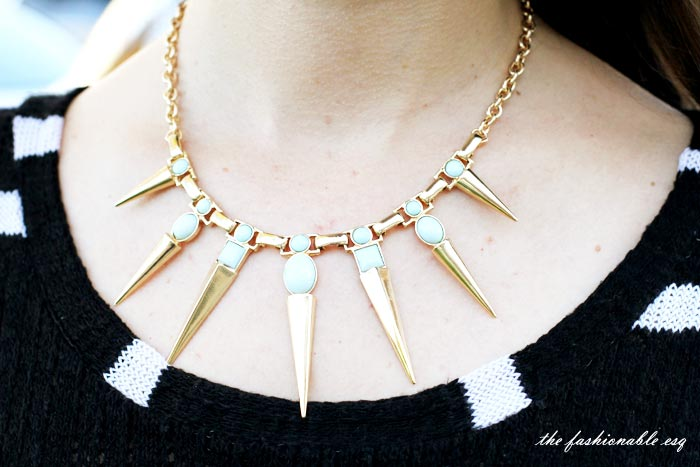 spiked gold necklace