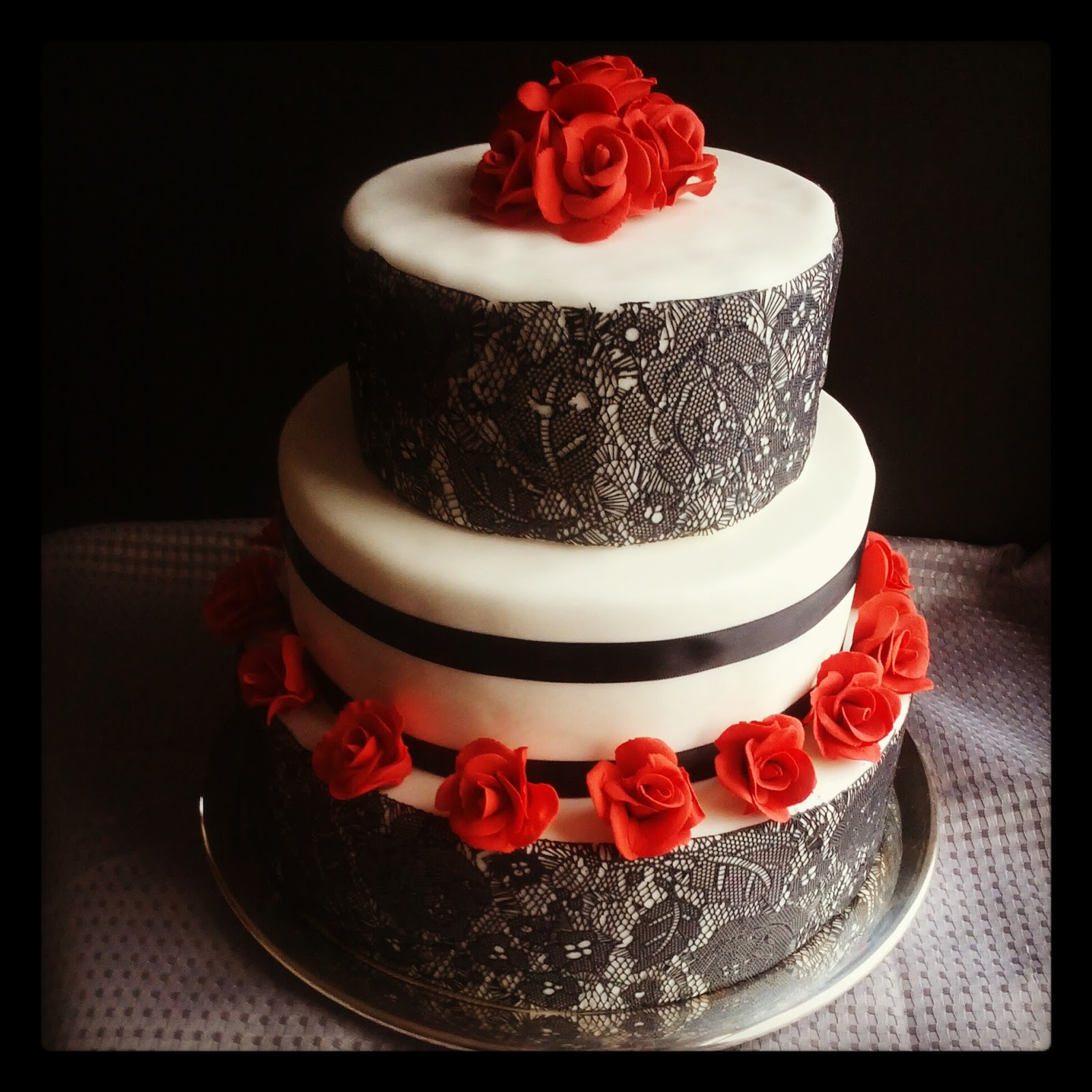 Second Generation Cake Design Black Lace and Red Roses