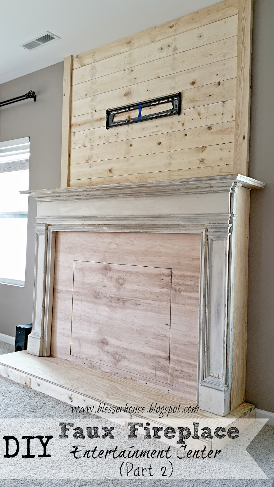 diy faux fireplace entertainment center part two bless. Black Bedroom Furniture Sets. Home Design Ideas