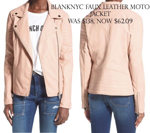 BLANKNYC Faux Leather Quilted Sleeve Moto Jacket was $138, now $62.09 (55% off)