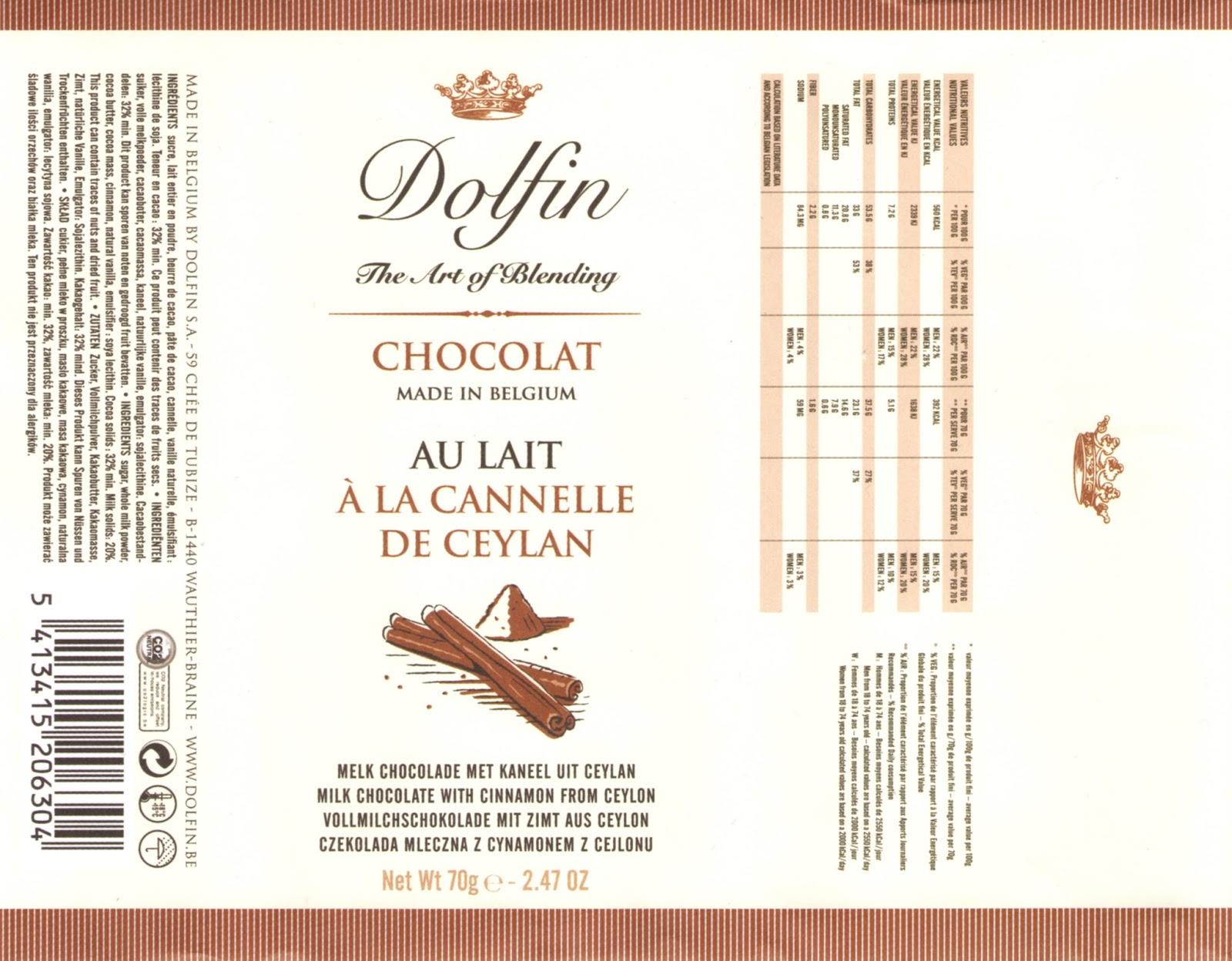 tablette de chocolat lait gourmand dolfin lait à la cannelle de ceylan