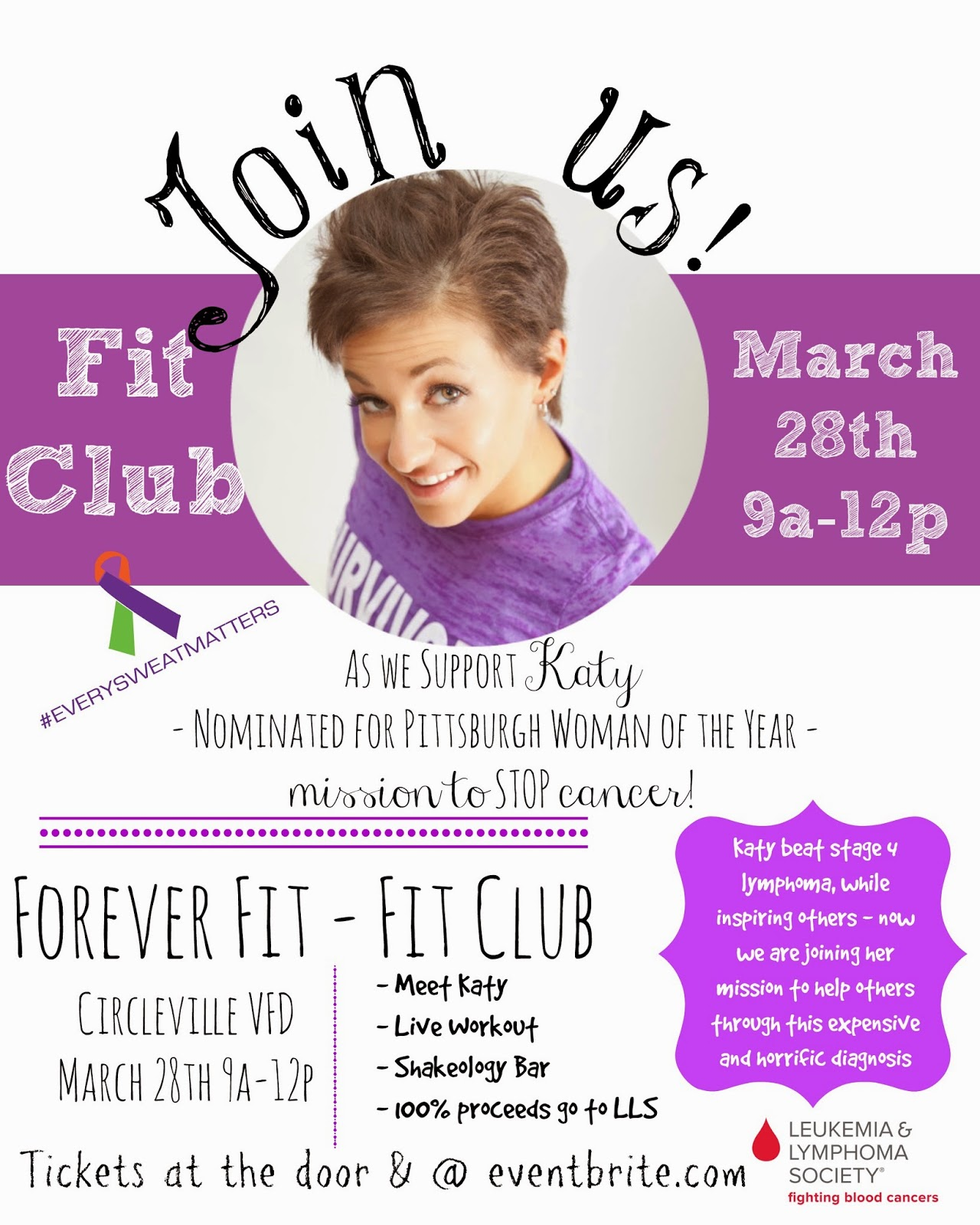 Erin Traill, diamond beachbody coach, LLS, Pittsburgh Woman of the Year, Fit Club, Forever Fit, Irwin, Pennsylvania, Lymphoma, every sweat matters
