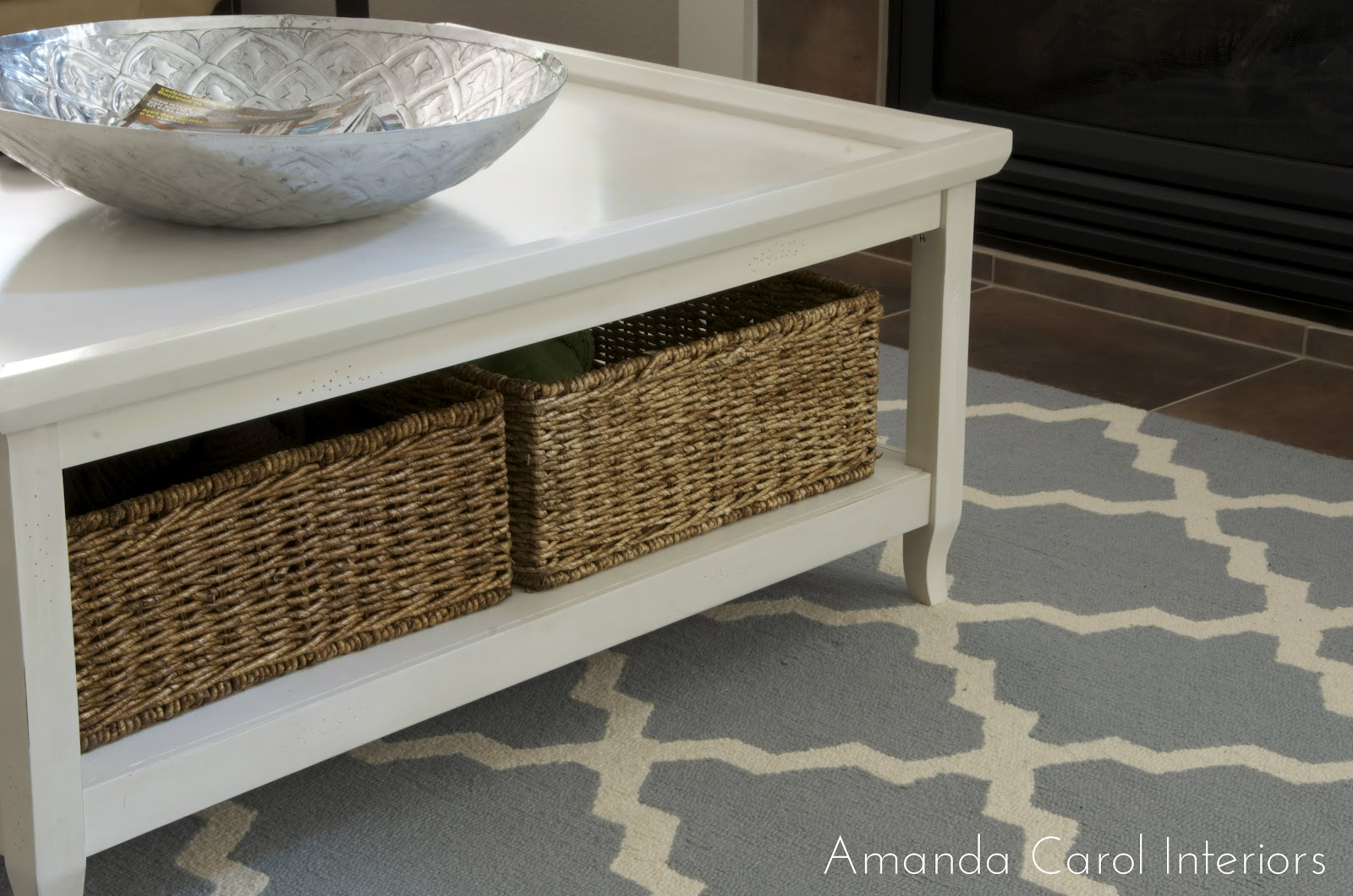 Baskets under coffee table home designs Coffee table baskets