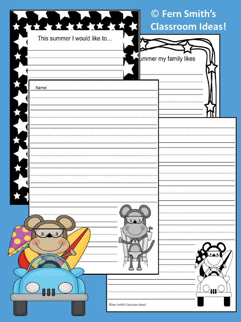 Fern Smith's FREE Summer Monkey Writing Stationary Printable