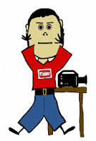 A stick figure boy with a video camera and youtube logo on his shirt.