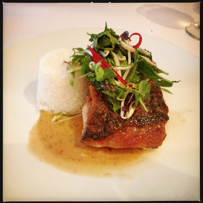 A photo of the Red Curry Barramundi at Luke Benchmark