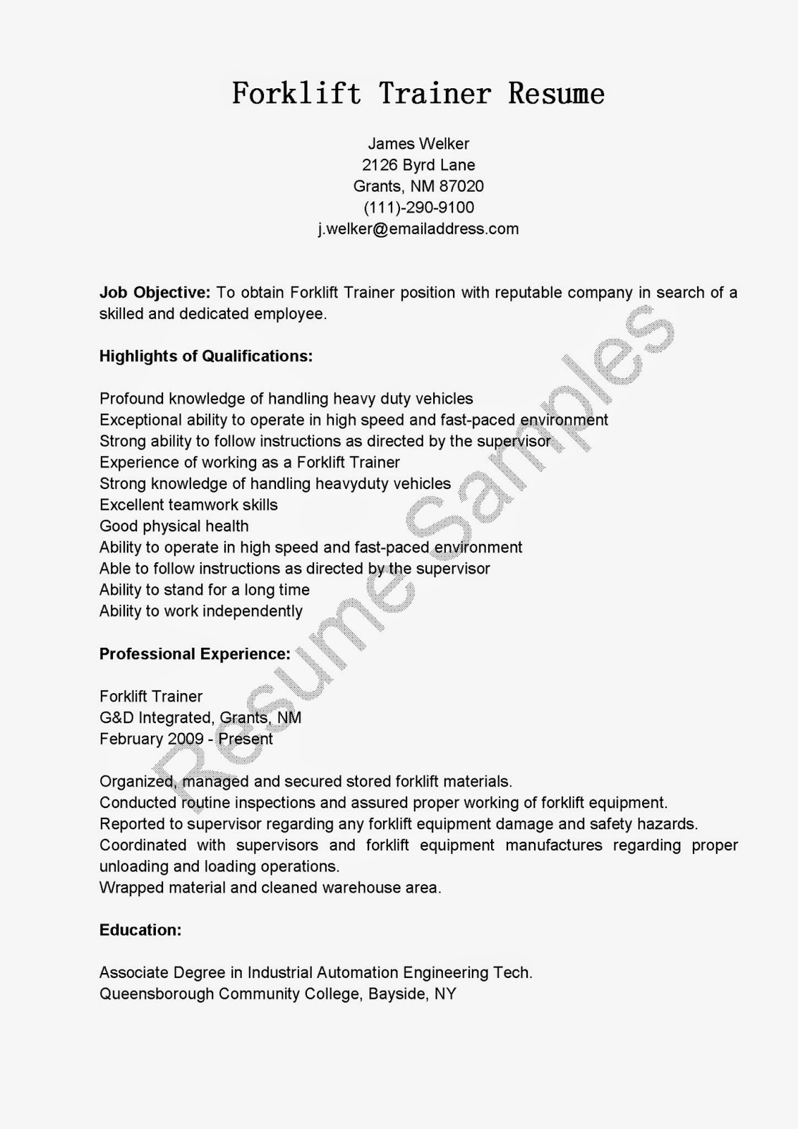 forklift resume sample resume samples forklift trainer sample driver - Forklift Operator Resume Sample