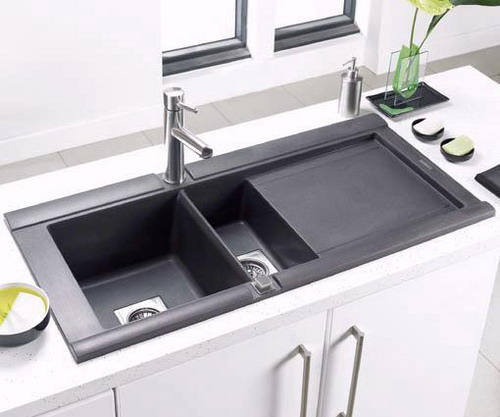 Simple and easy instructions for cleaning black kitchen for Contemporary kitchen sinks ideas