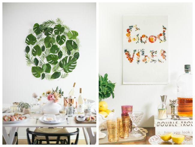 Decoraci n f cil hojas y flores decorando la pared - Decorar paredes facil ...