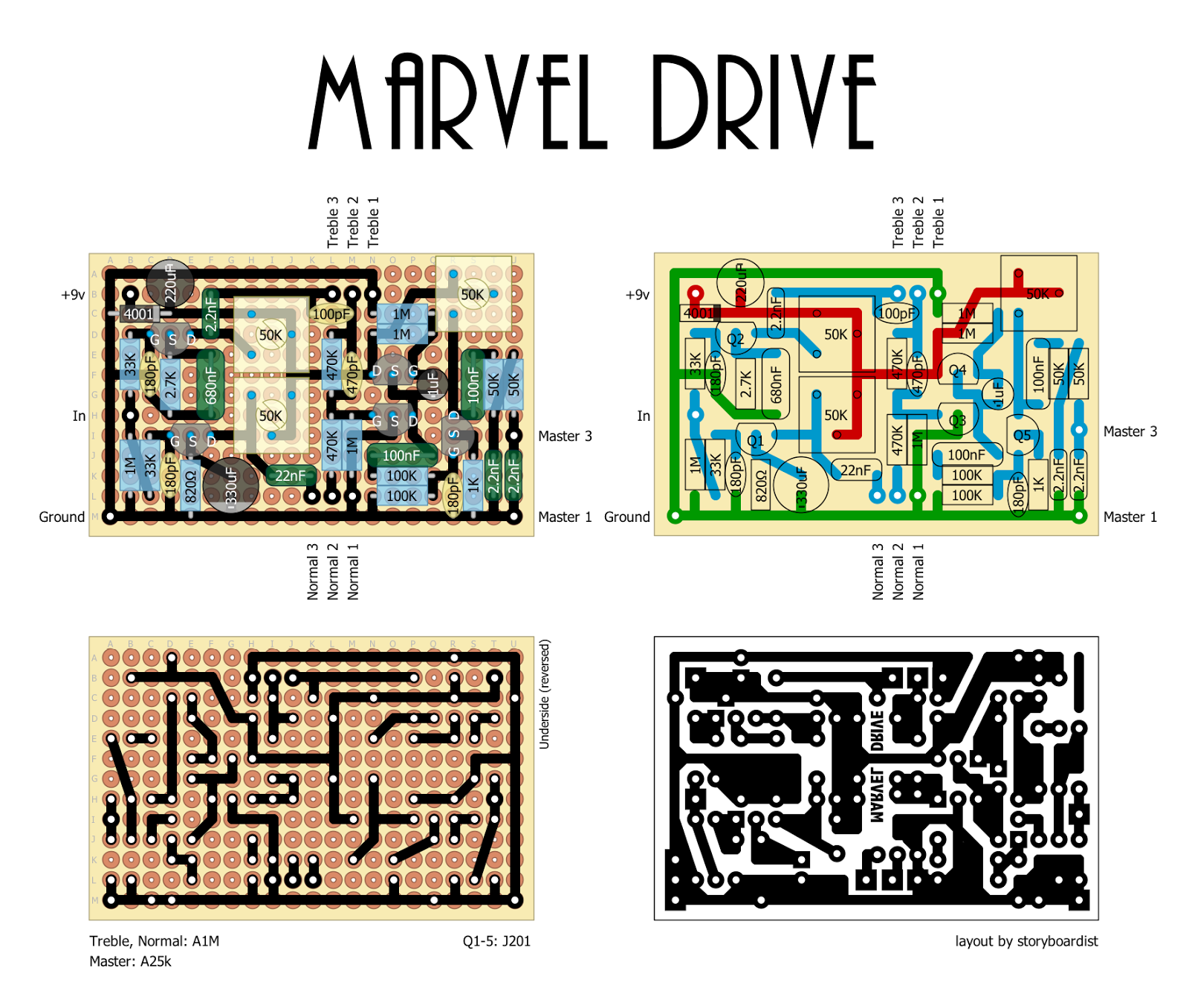 perf and pcb effects layouts 2014 the marvel drive has parallel input stages allowing you to create your own blend between the normal channel and the treble channel