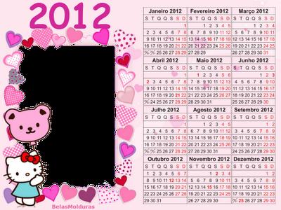 Marcadores: calendários 2012 , Hello Kitty , infantil , meninas