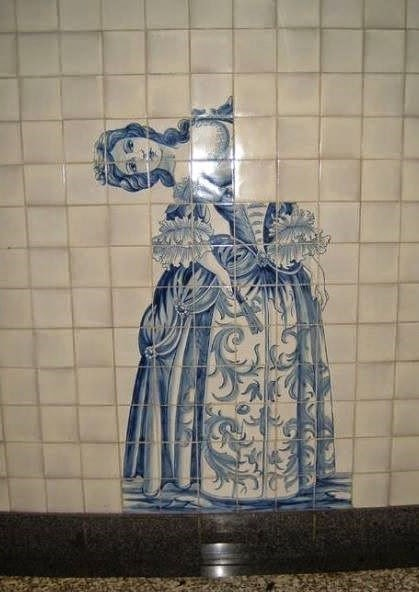 Picture of victorian woman on tile with sideways head