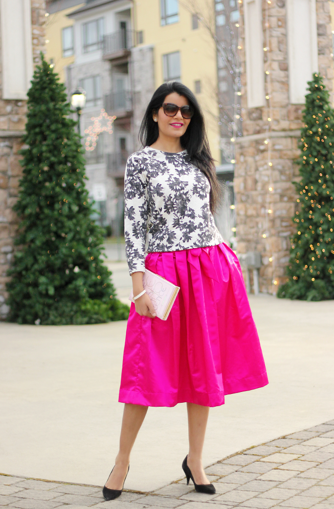 JCrew Floral Sweatshirt, Floral Sweatshirt, Kate Spade Book Clutch, Pink Midi Skirt, Party Skirts