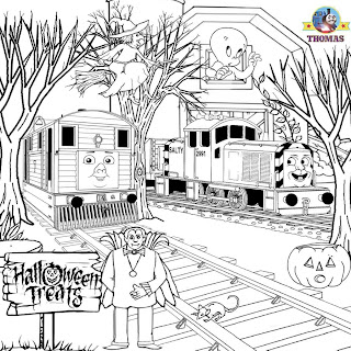 Toby train Salty Thomas tank Trick or treat coloring sheet to print Vampire phantom Witch on a broom