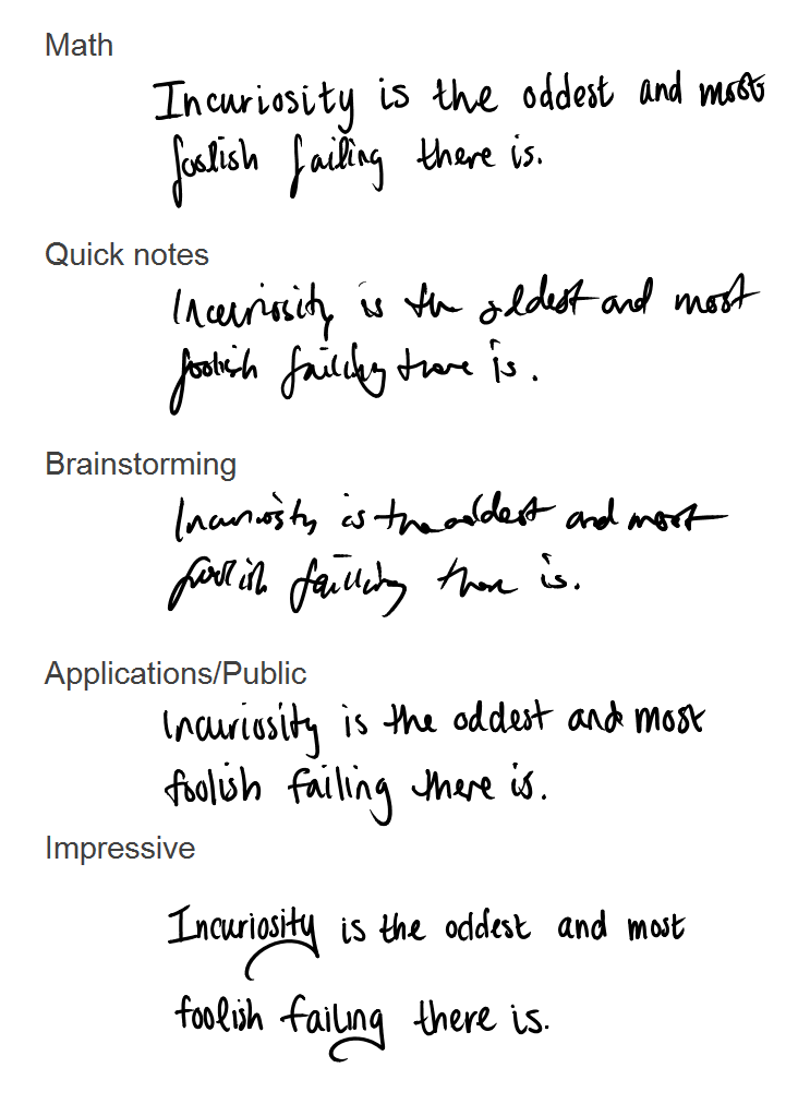 kinds of handwriting