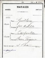 Mariage Guillerez Achille 1834