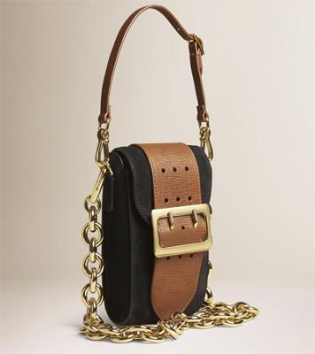 acessório bolsa tiracolo de camurça alça de couro e corrente removíveis da Burberry coleção Verão 2016