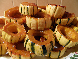 Plate piled high with Glazed Delicata Squash