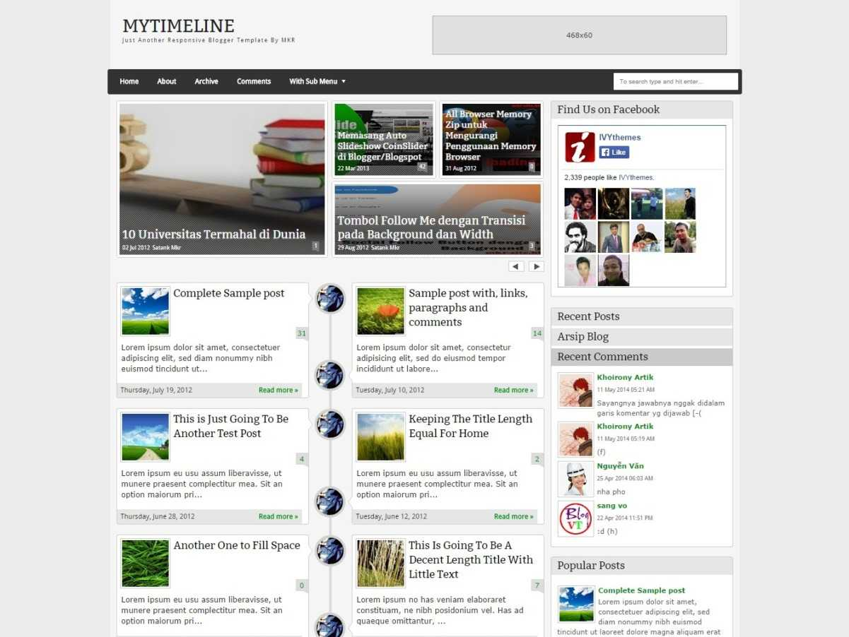 MyTimeLine Responsive Blogger Template By MKR Blogr Templates - Timeline blogger template