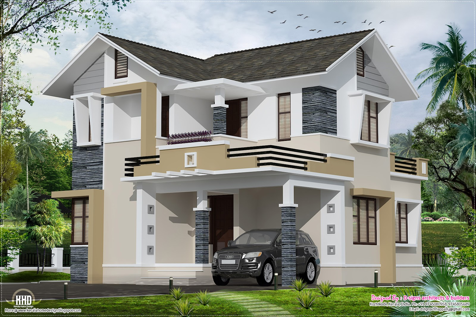 Stylish small home design - Kerala home design and floor plans