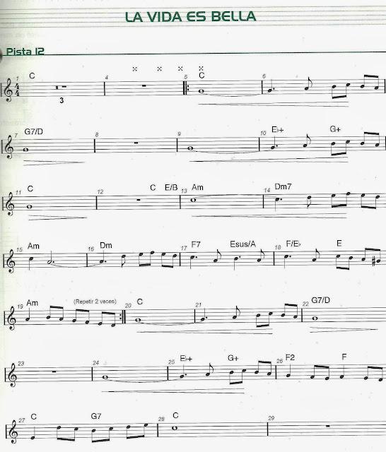 """La Música En El Palas: Partitura """"La Vida Es Bella"""""""