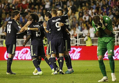 Cristiano Ronaldo celebrates his goal against Rayo with his teammates