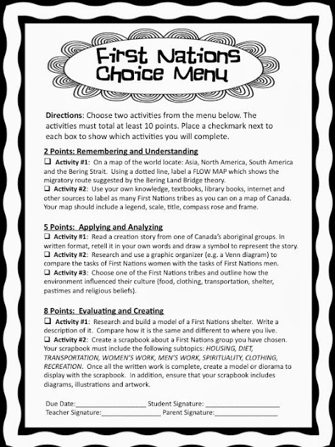 First Nations Choice Menu from teachingisagift.blogspot.ca