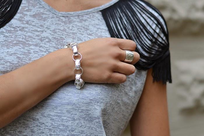 parure bracciale anello argento