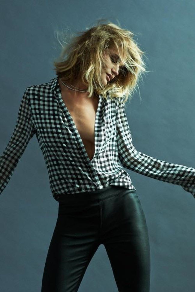 rosie huntington whiteley paige denim fall 2015 collection plaid shirt leather pants blonde bob hairstyle