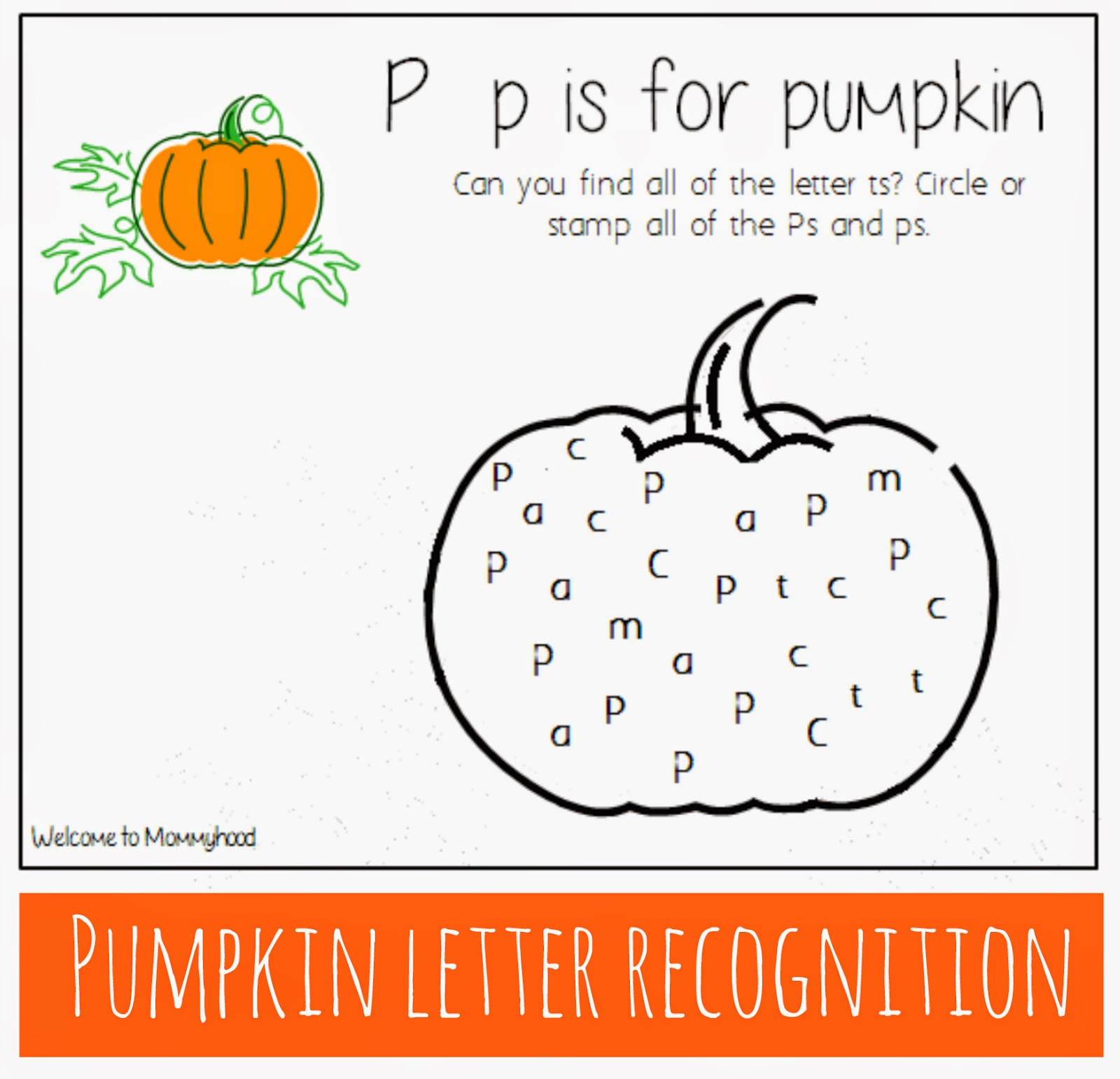 Thanksgiving Activities: Free letter recognition printables {Welcome to Mommyhood} #ThanksgivingActivities