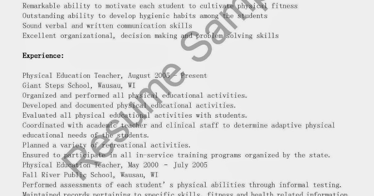 Resume Samples: Physical Education Teacher Resume Sample