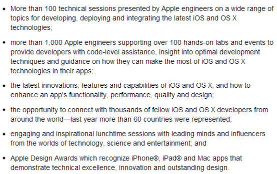Official Activities, Sessions & Events of Apple's WWDC 2013