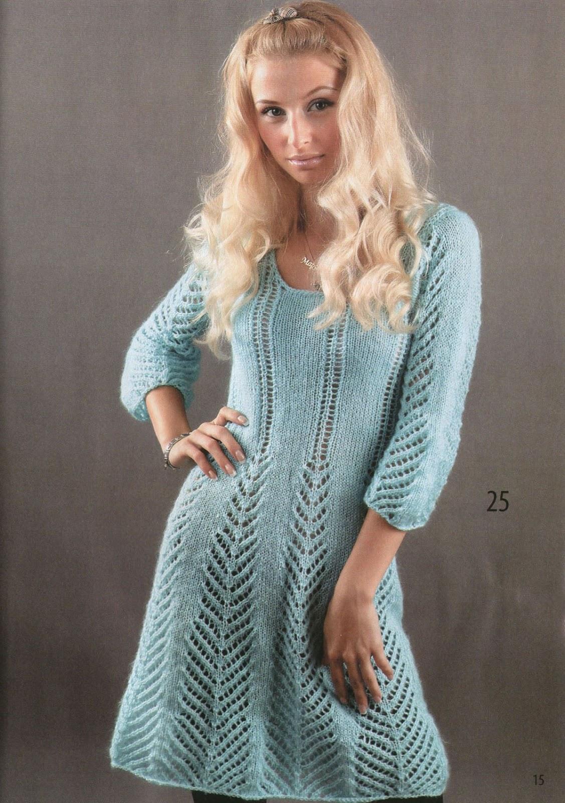 фото вязаное бирюзовое зима платье