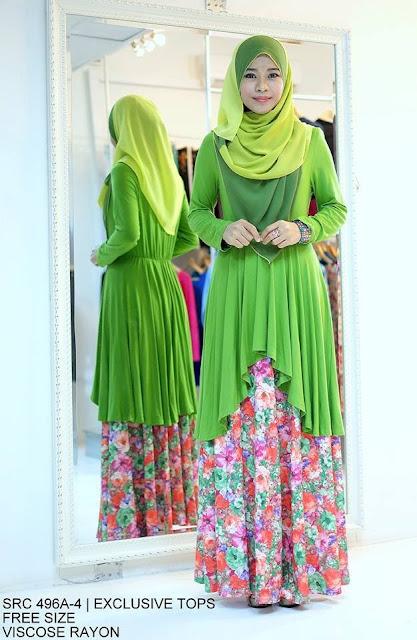 Baju kurung ini ala-ala muslimah cantik kombinasi tudung dan baju